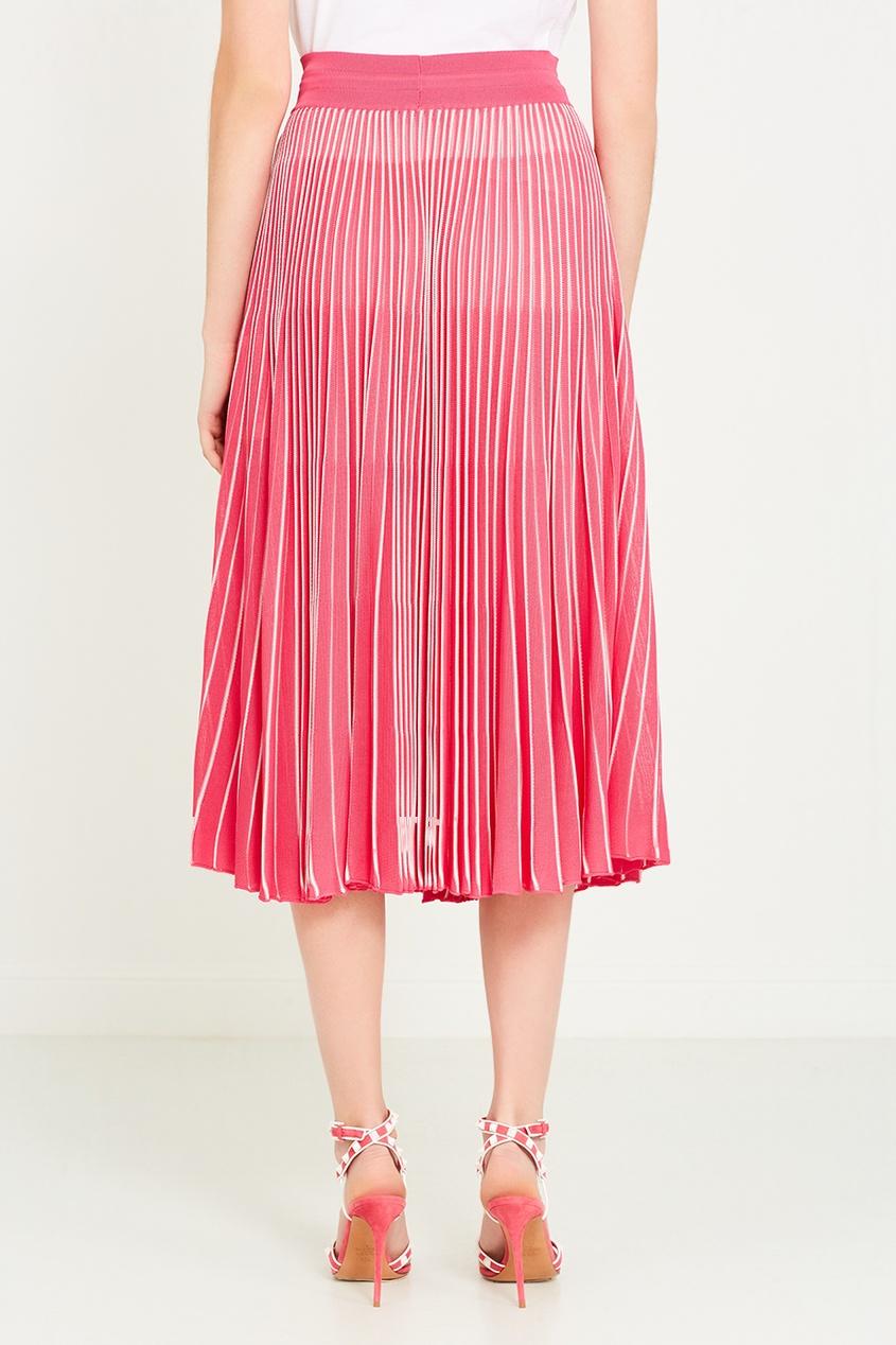 Valentino Розовая плиссированная юбка пояс широкий с завязками