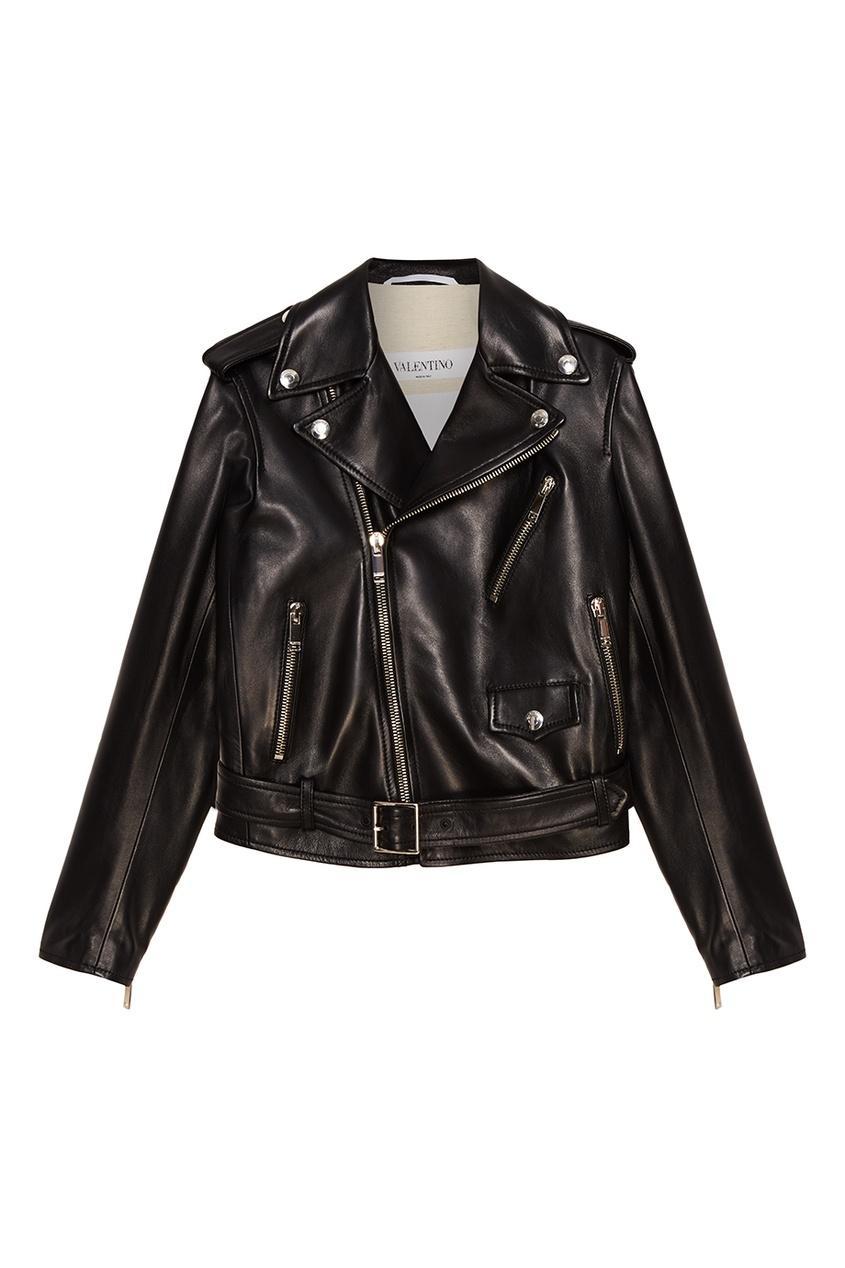 Valentino Кожаная байкерская куртка red valentino джинсовая куртка с карманами