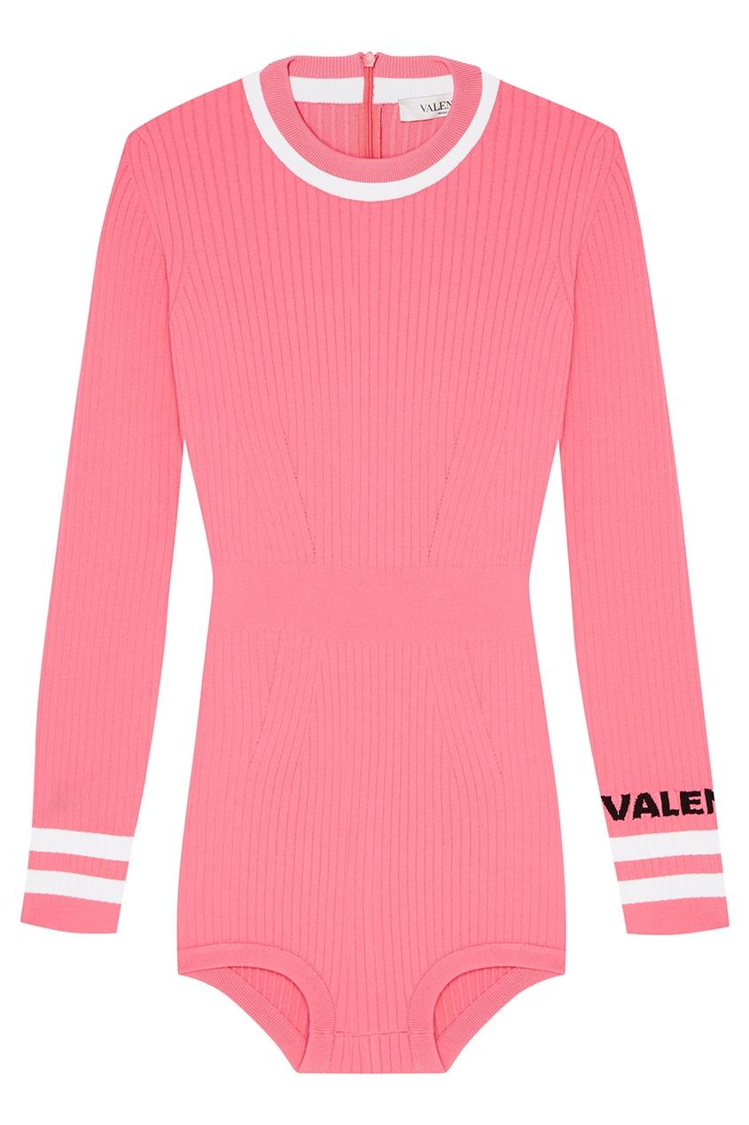 Фото #1: Вязаное боди розового цвета