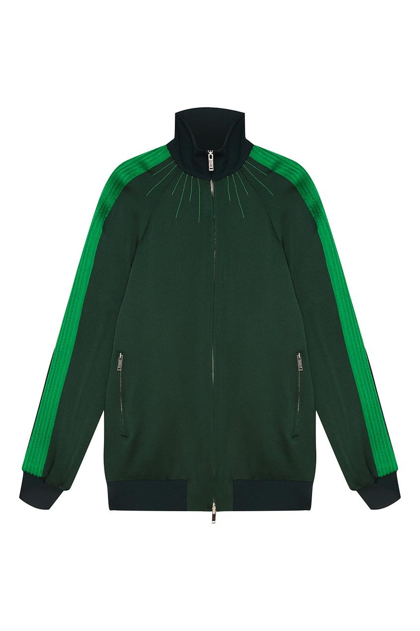 Куртка-бомбер с рельефами на рукавах
