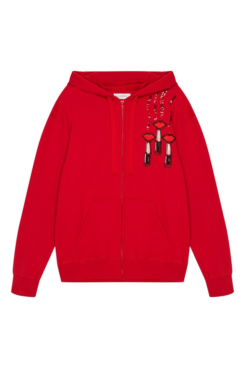 Valentino Красное худи с вышивкой пайетками черный корсет с пайетками на молнии 48