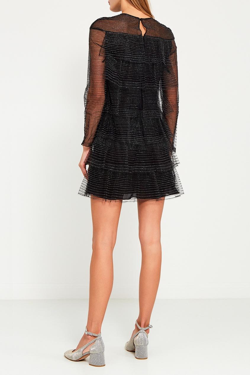 Valentino Блестящее платье-мини с воланами