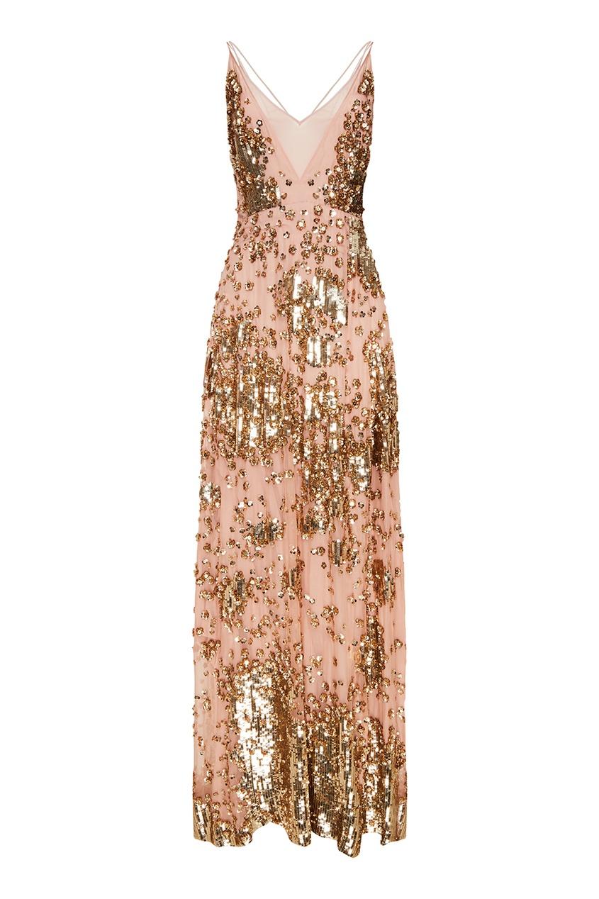 Valentino Шелковое платье с золотыми пайетками
