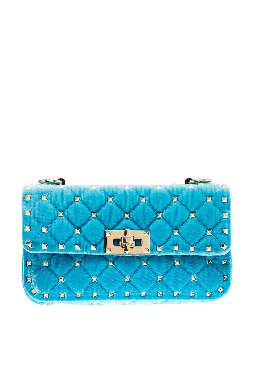 Купить со скидкой Голубая сумка из стеганого бархата Rockstud Spike Valentino Garavani