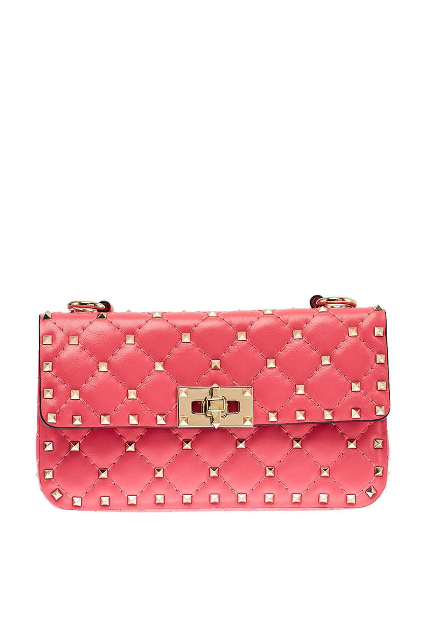 Розовая сумка из кожи Rockstud Spike Valentino Garavani фото