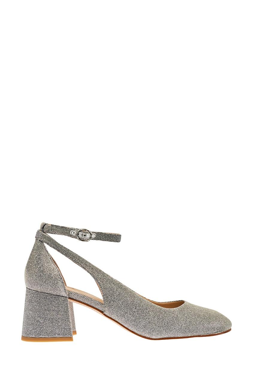 Серебристые туфли из текстиля с люрексом