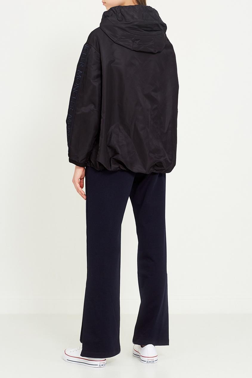 Moncler Синие трикотажные брюки пояс широкий с завязками