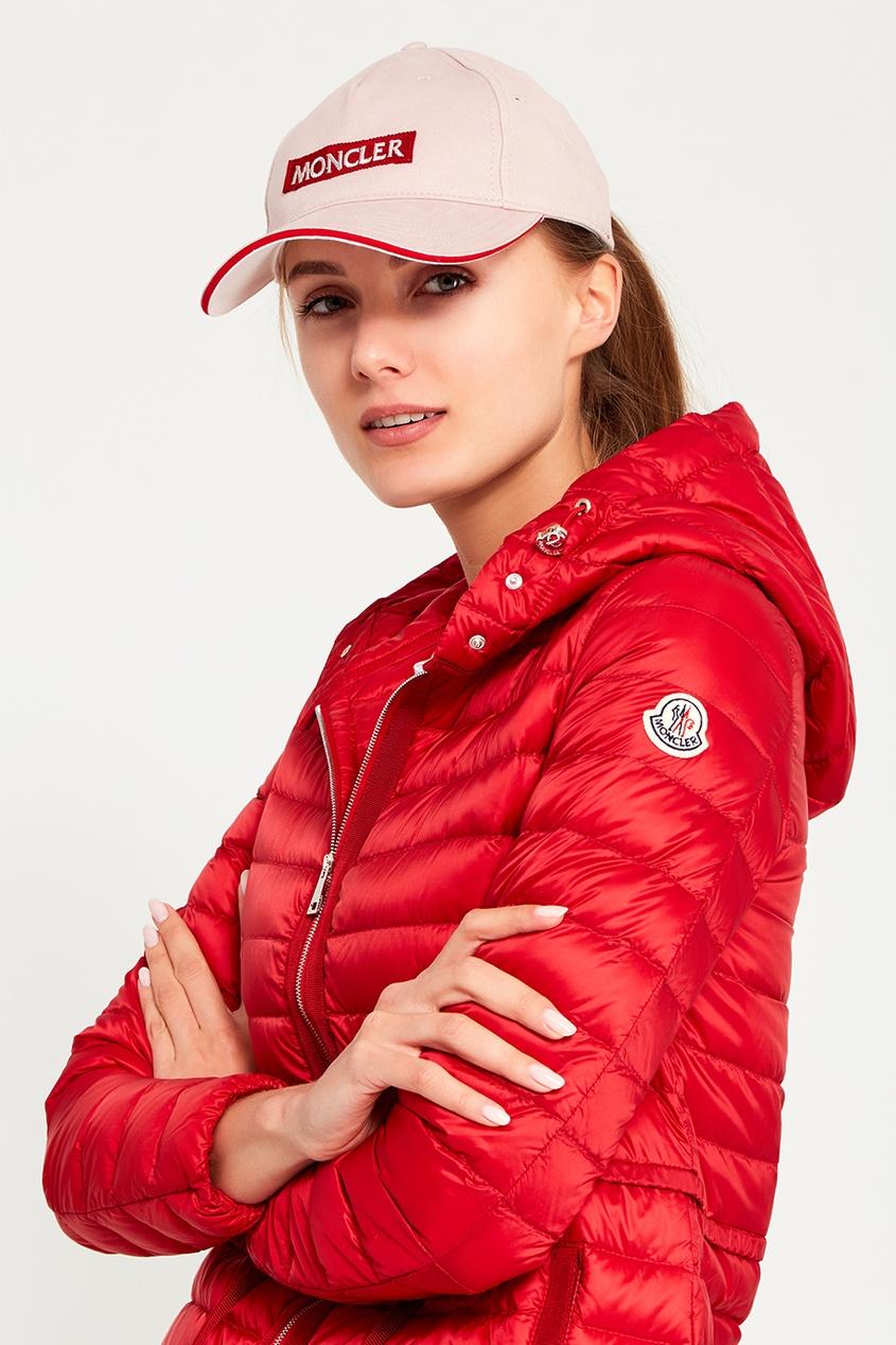 Moncler Бежевая кепка с логотипом babyhit evenly light светло бежевая с белыми звездочками