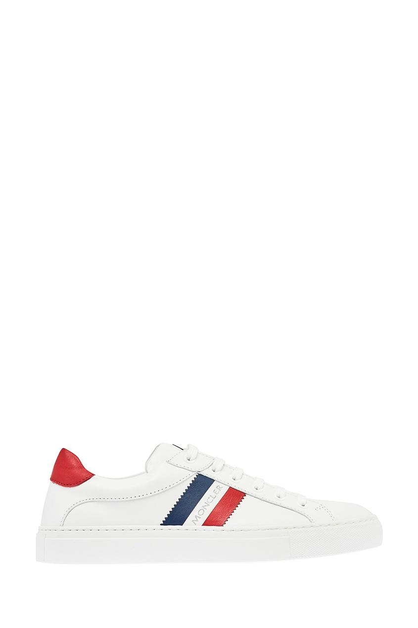 Moncler Белые кроссовки с контрастной отделкой moncler кожаные сандалии на плетеной подошве