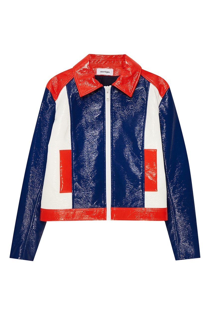 Трехцветная куртка с лакированным эффектом