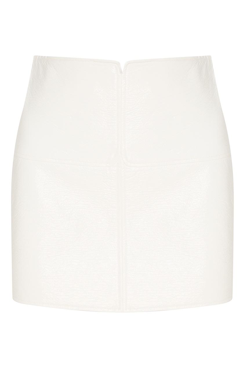 Белая юбка из эко-кожи