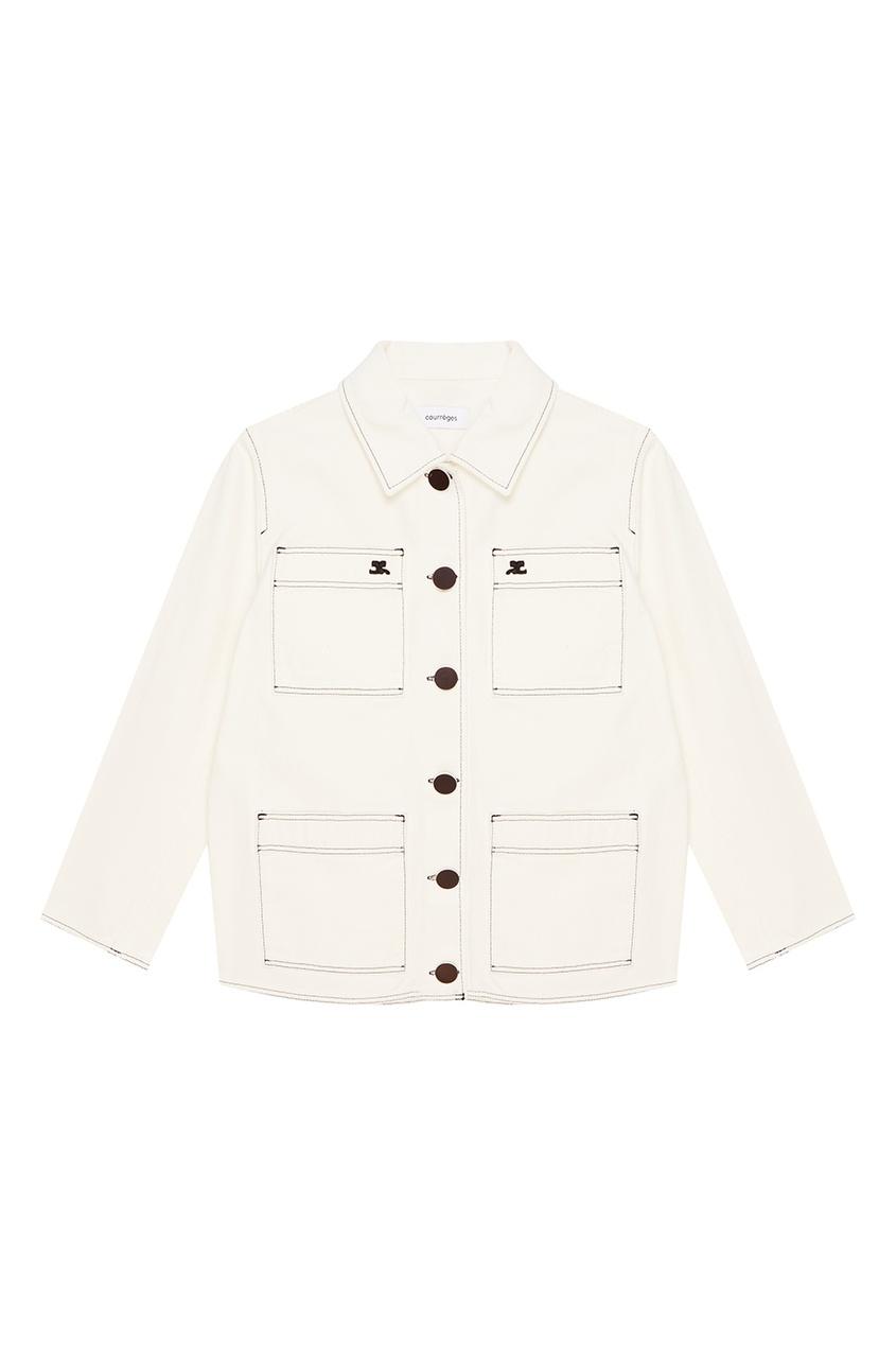 Courreges Белая куртка-карго из хлопка courreges головной убор