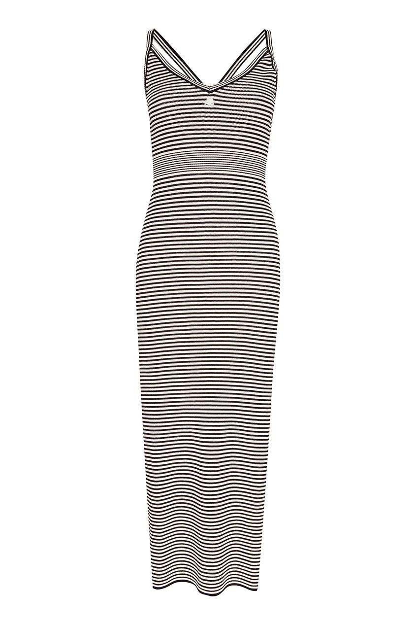 Courreges Трикотажное платье-макси в полоску