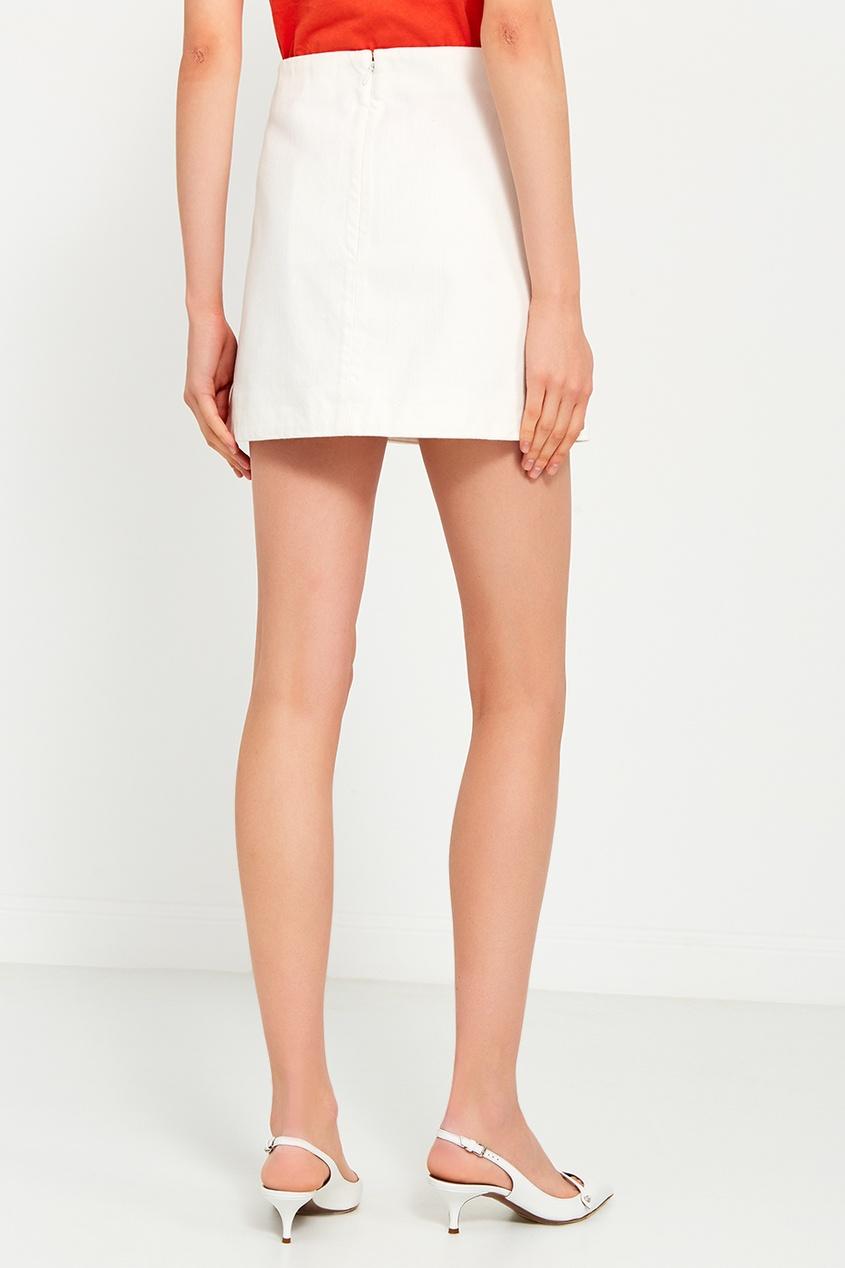 Белая хлопковая юбка-мини