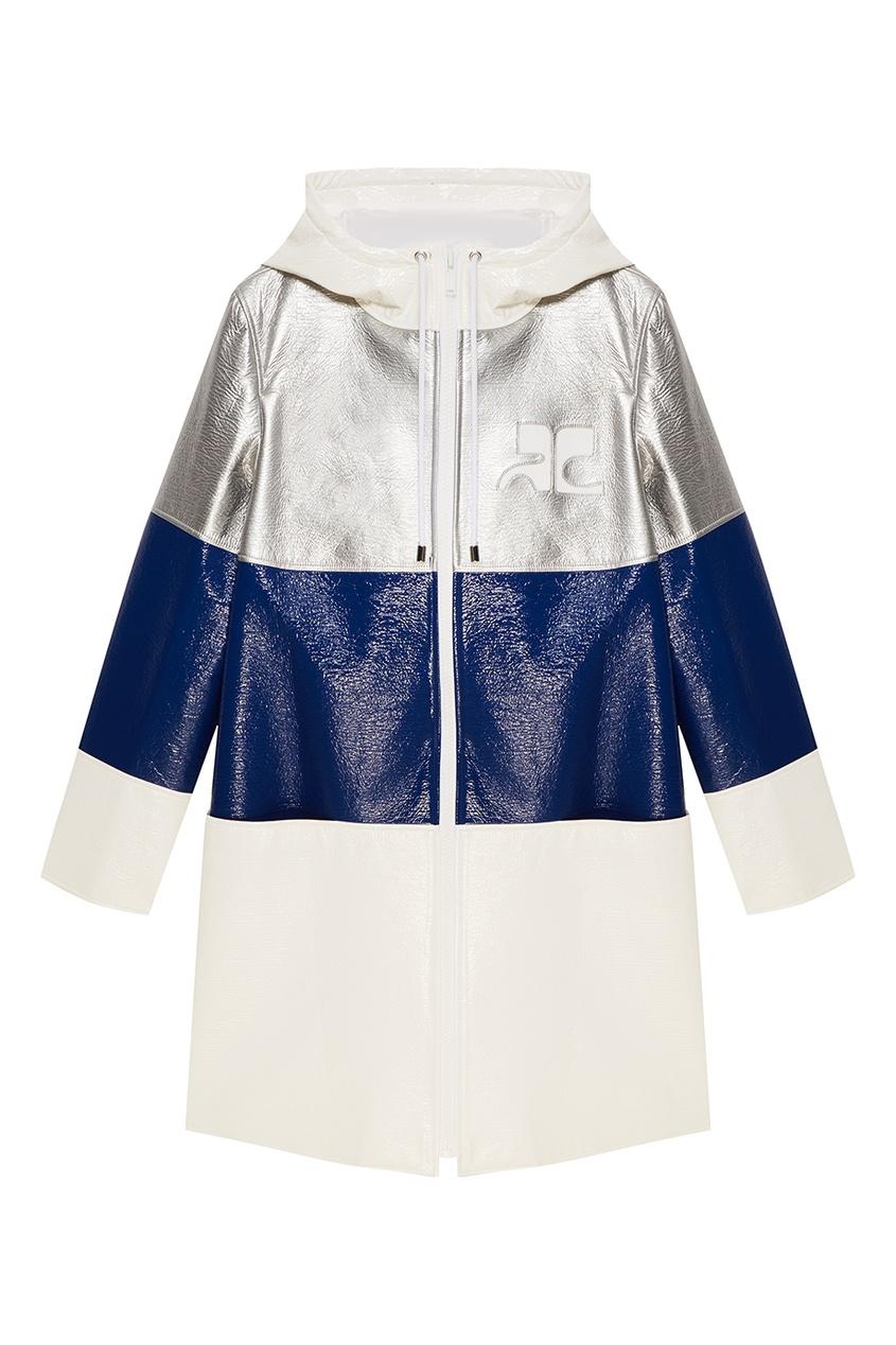 Courreges Комбинированное пальто из эко-кожи courreges головной убор