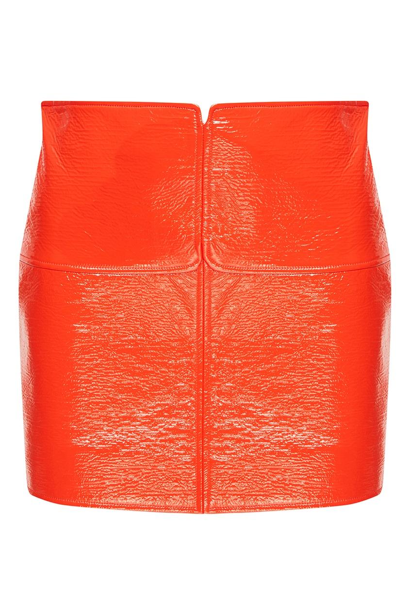 Красная юбка из эко-кожи