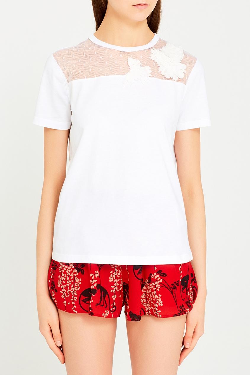 Red Valentino Белая футболка с объемным декором клетка для птиц ferplast rekord 3 белая 49x30x48 5см