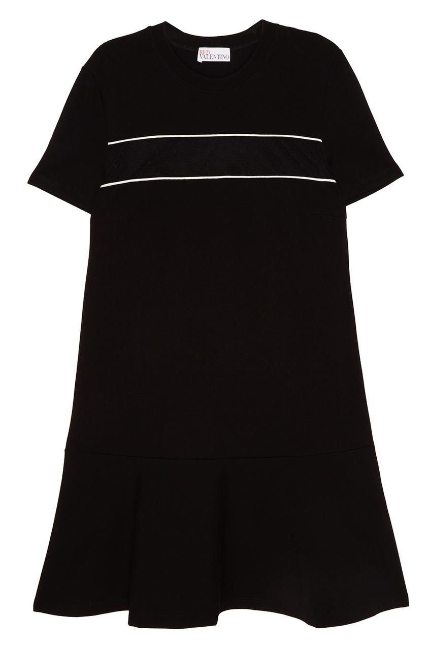 Red Valentino Черное платье-трапеция платье черное с паетками 44