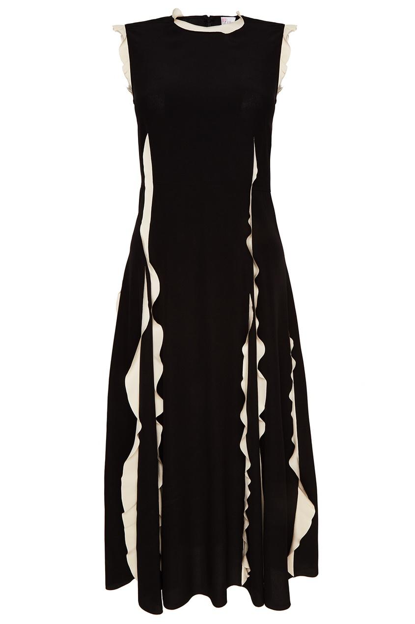 Red Valentino Черное шелковое платье с оборками платье черное с паетками 44
