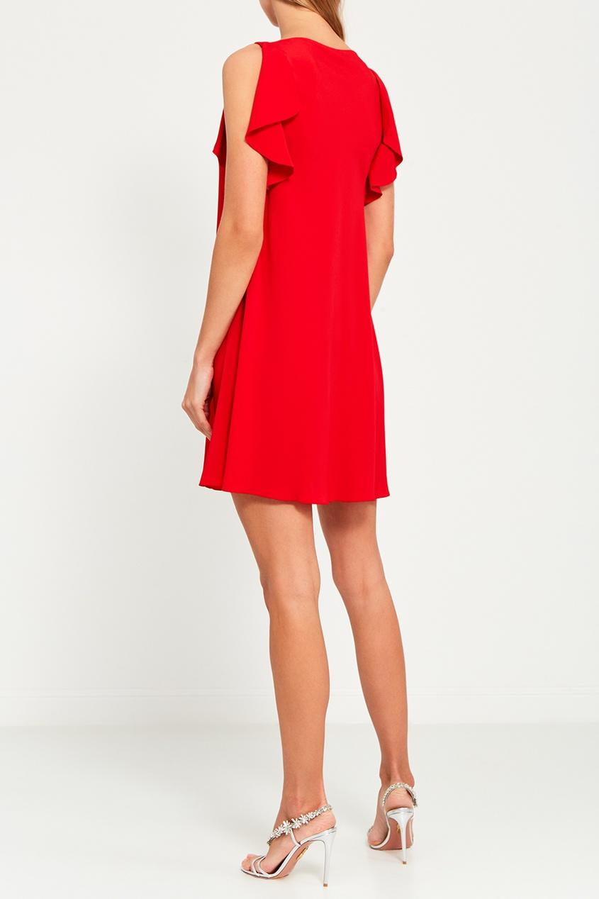 Red Valentino Платье с оборками по бокам valentino однотонное пальто