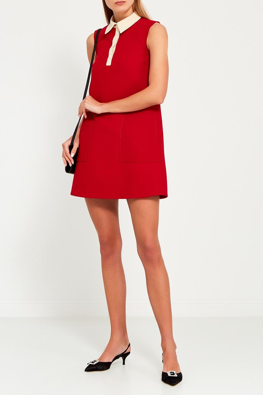 Red Valentino Красное платье с белым воротником valentino платье от valentino 81364