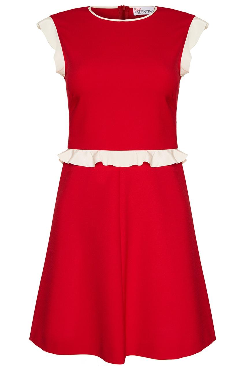 Red Valentino Красное платье с белыми оборками