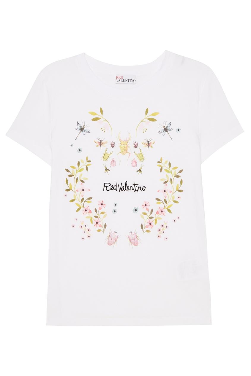 Red Valentino Белая футболка с цветочным принтом футболка белая с принтом ido ут 00011957
