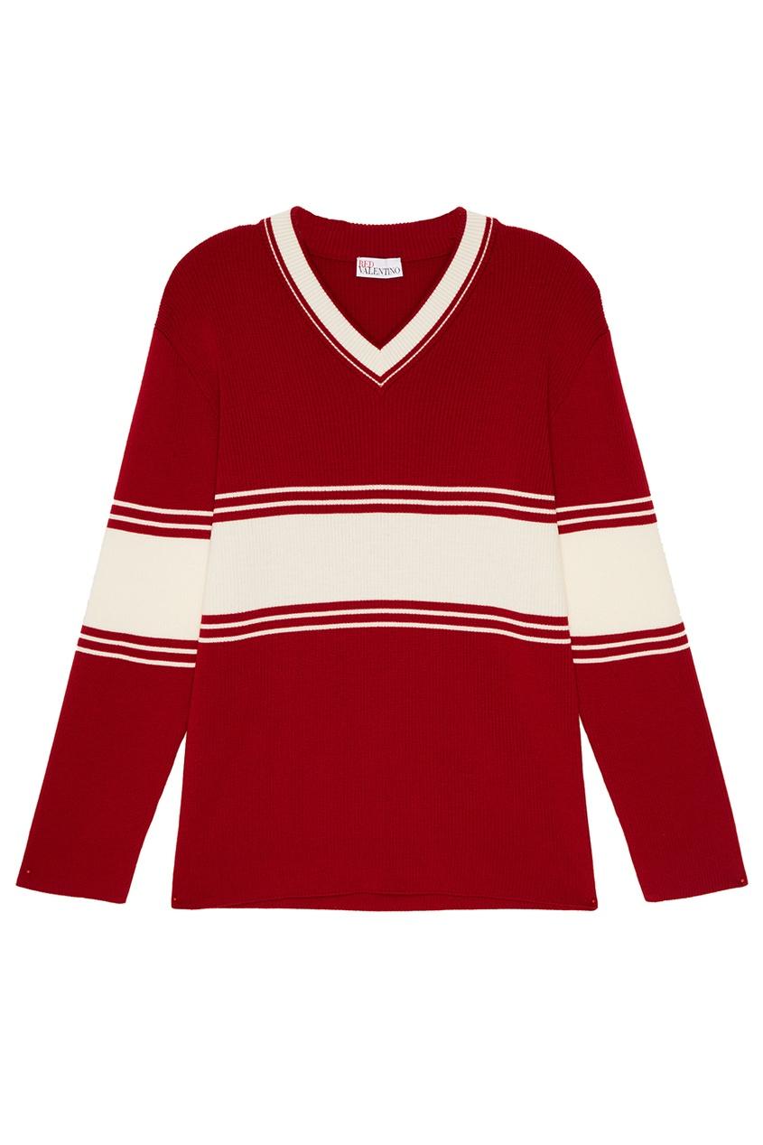 Шерстяной пуловер красного цвета