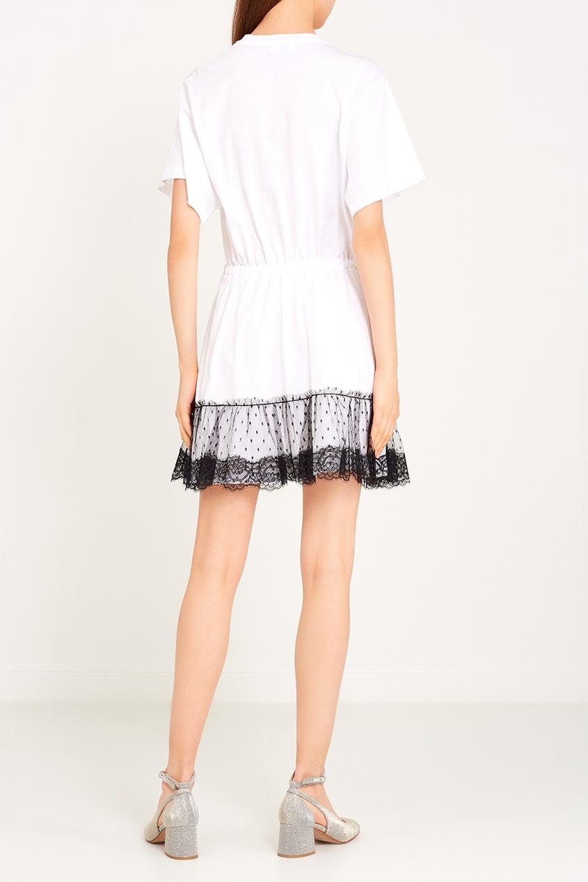 Хлопковое платье-туника с сеткой