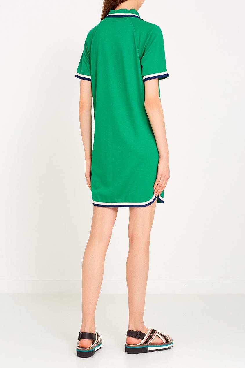 Зеленое платье-рубашка на пуговицах