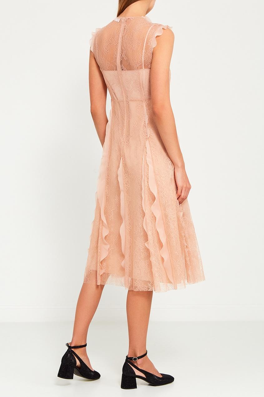 Red Valentino Розовое платье с оборками valentino платье от valentino 81364