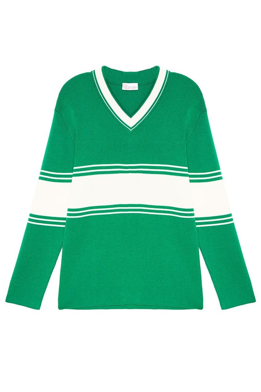Шерстяной пуловер зеленого цвета