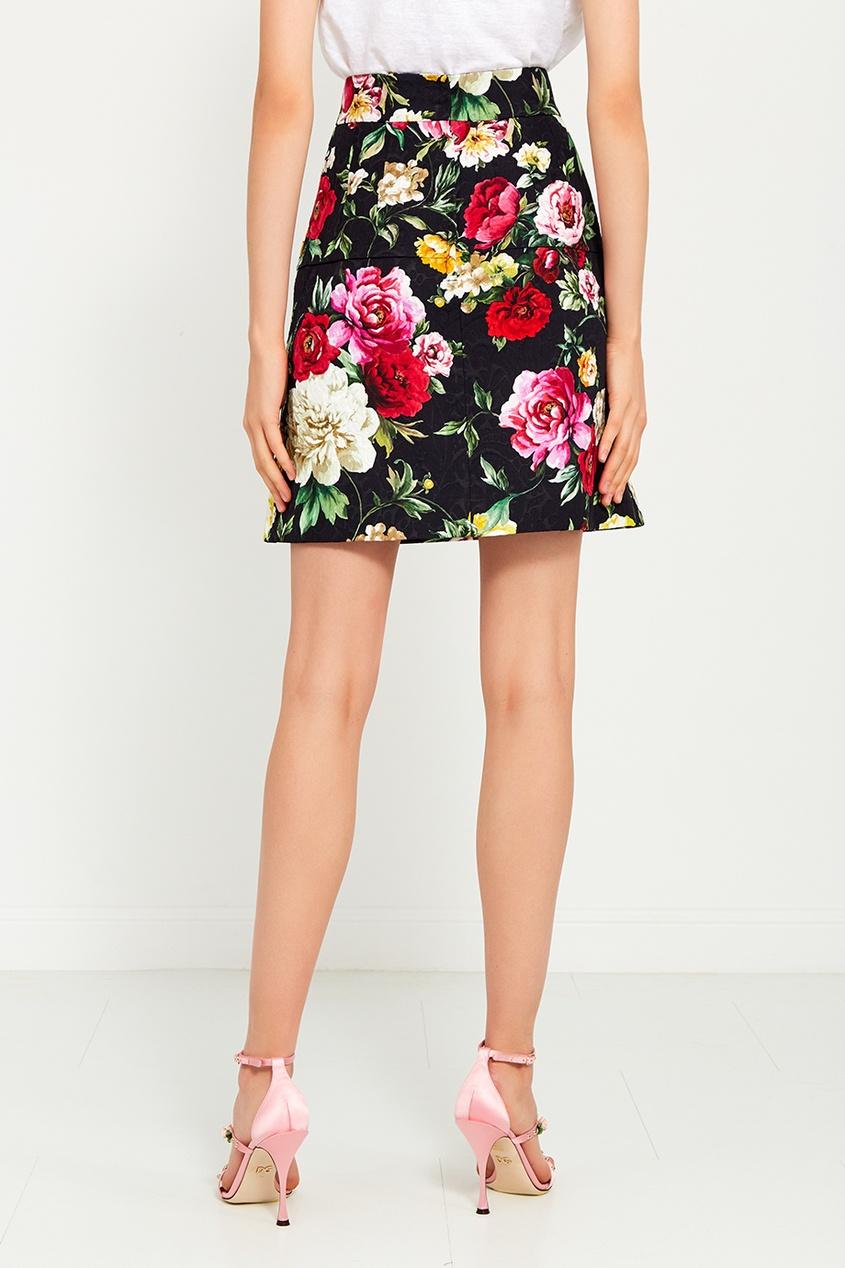 Dolce&Gabbana Хлопковая юбка с цветочным принтом