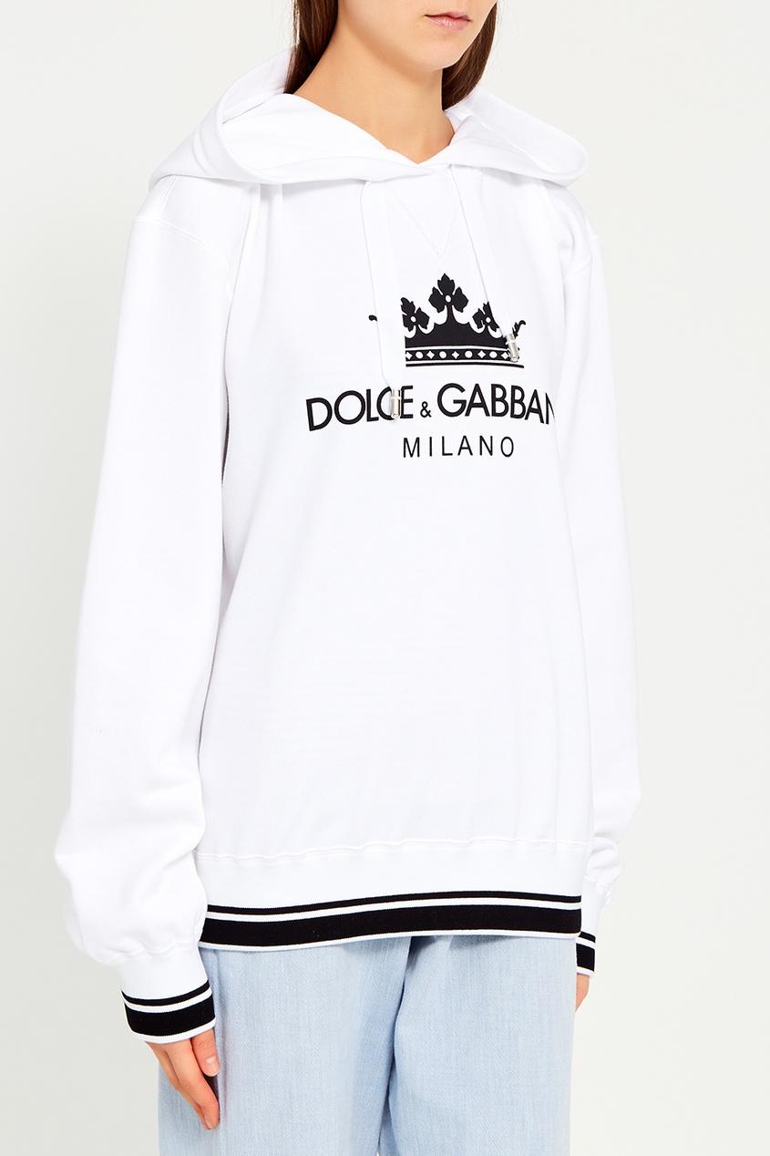 Белое худи с логотипом