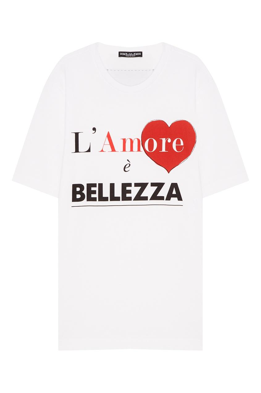 Dolce&Gabbana Белая футболка с контрастными надписями футболка белая с принтом ido ут 00004169