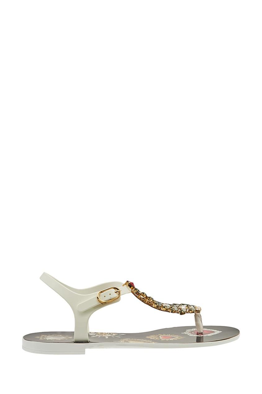 Белые сандалии с крупными кристаллами