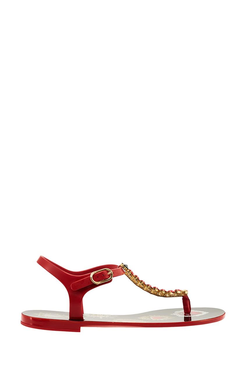 Красные сандалии с крупными кристаллами