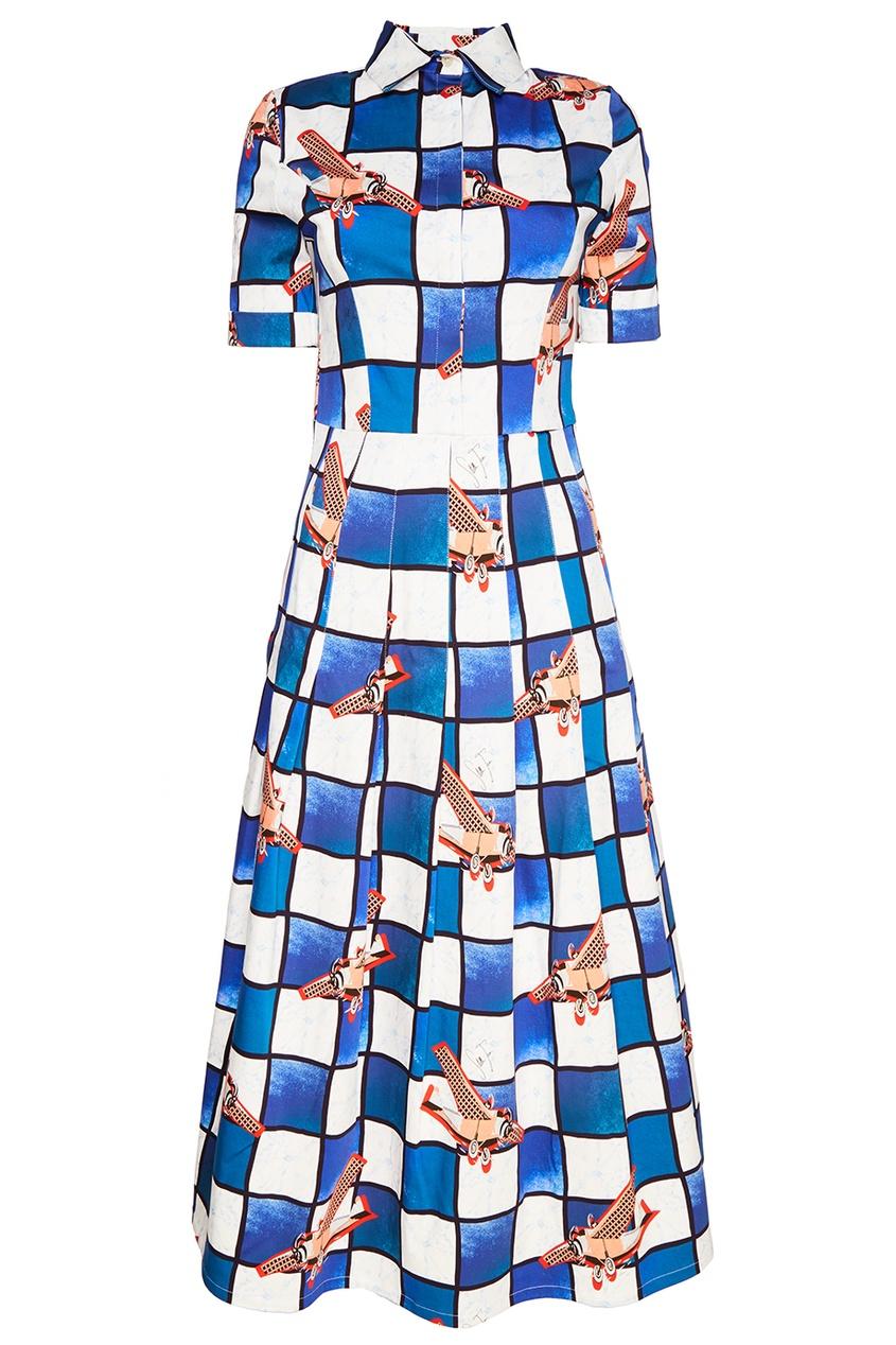 Stella Jean Хлопковое платье в клетку рубашка поло stella plays printio слава красной армии