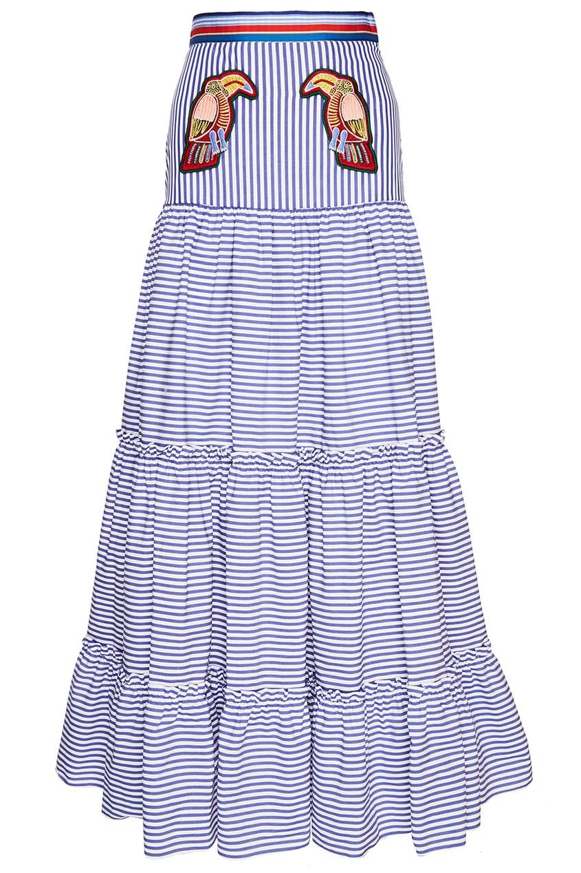 Хлопковая юбка с воланами