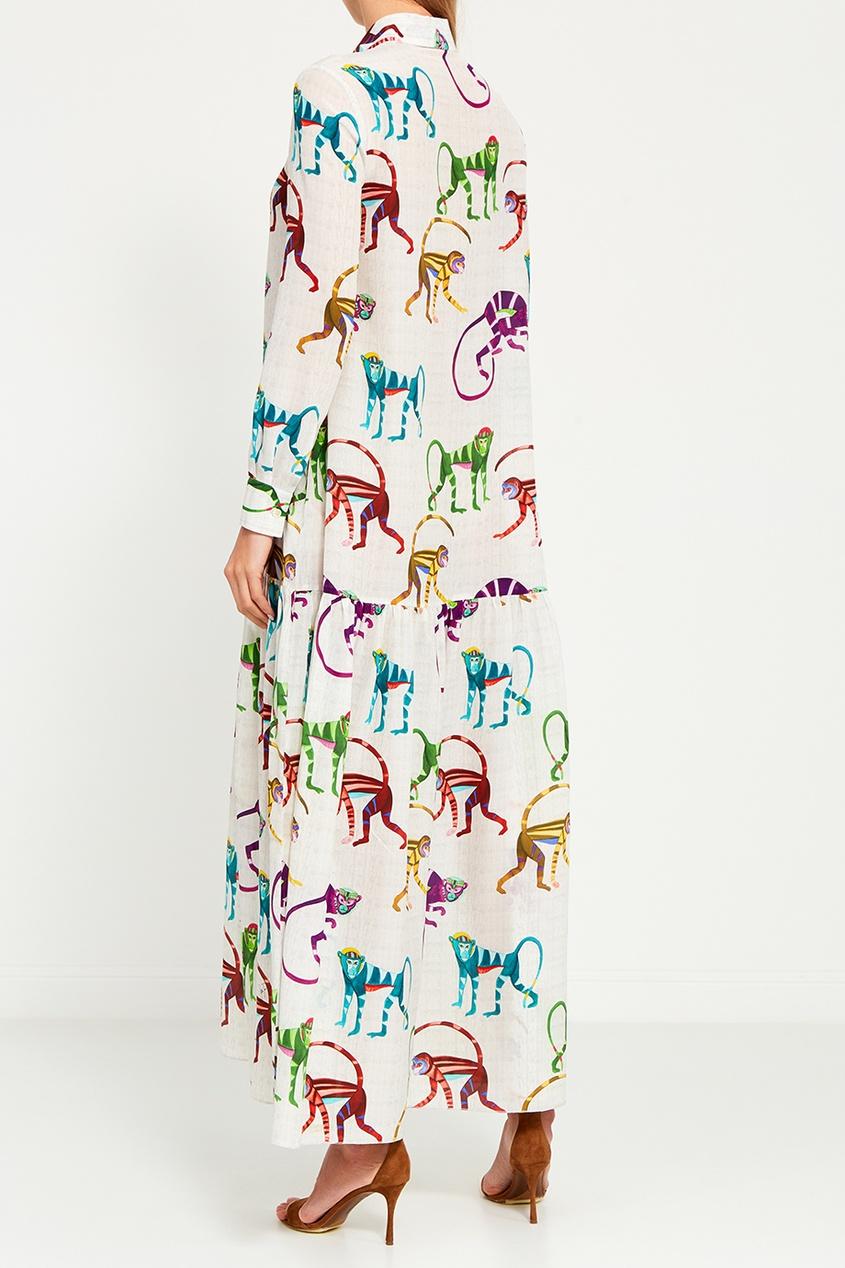 Stella Jean Шелковое платье с разноцветным принтом