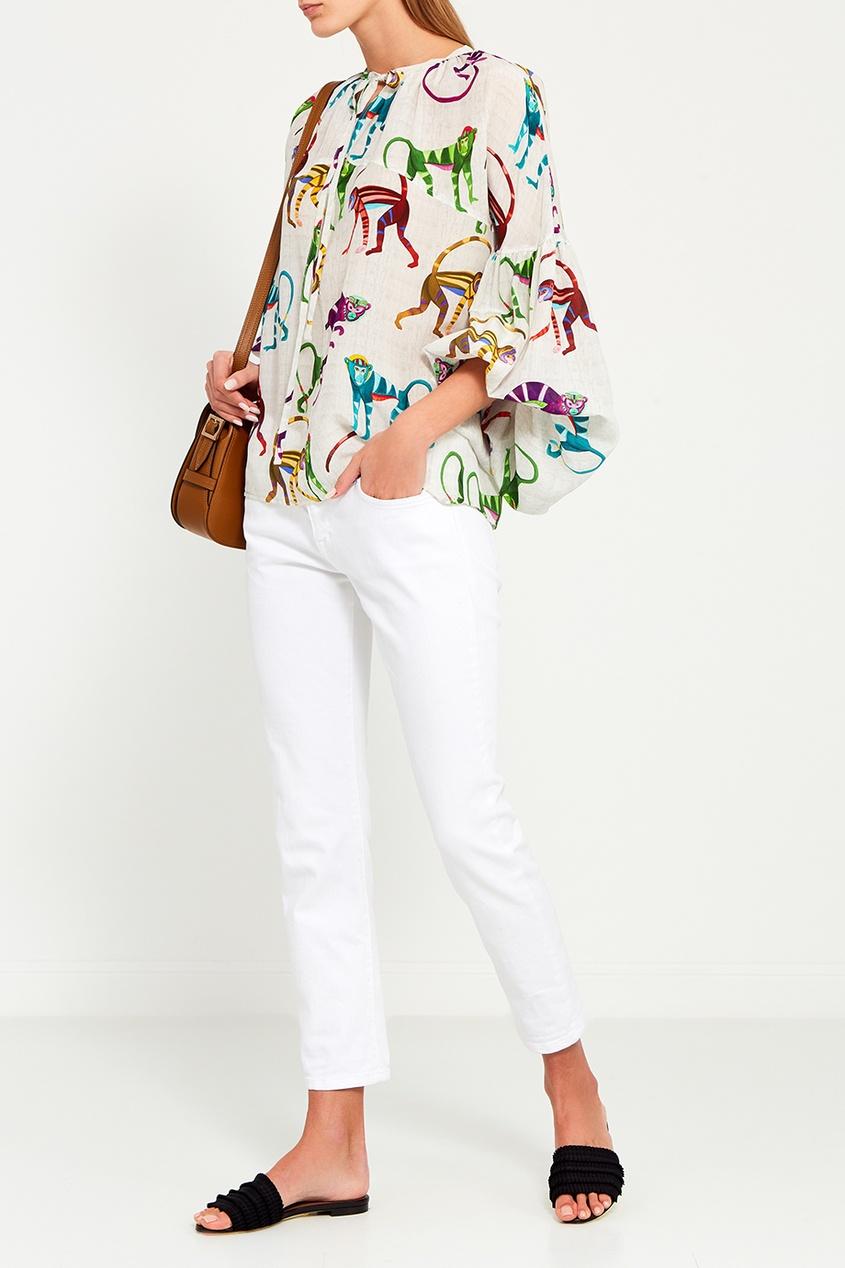 Stella Jean Шелковая блузка с принтом