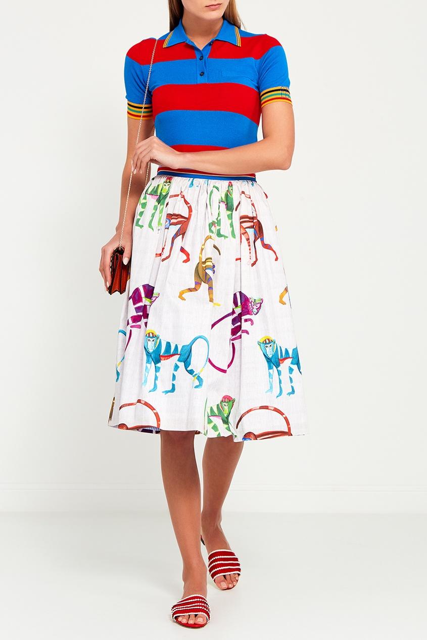 Stella Jean Хлопковая юбка-миди с принтом юбка миди в полоску розового цвета