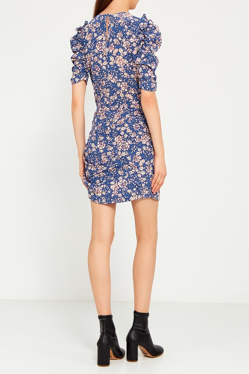 Шелковое платье с пышными рукавами