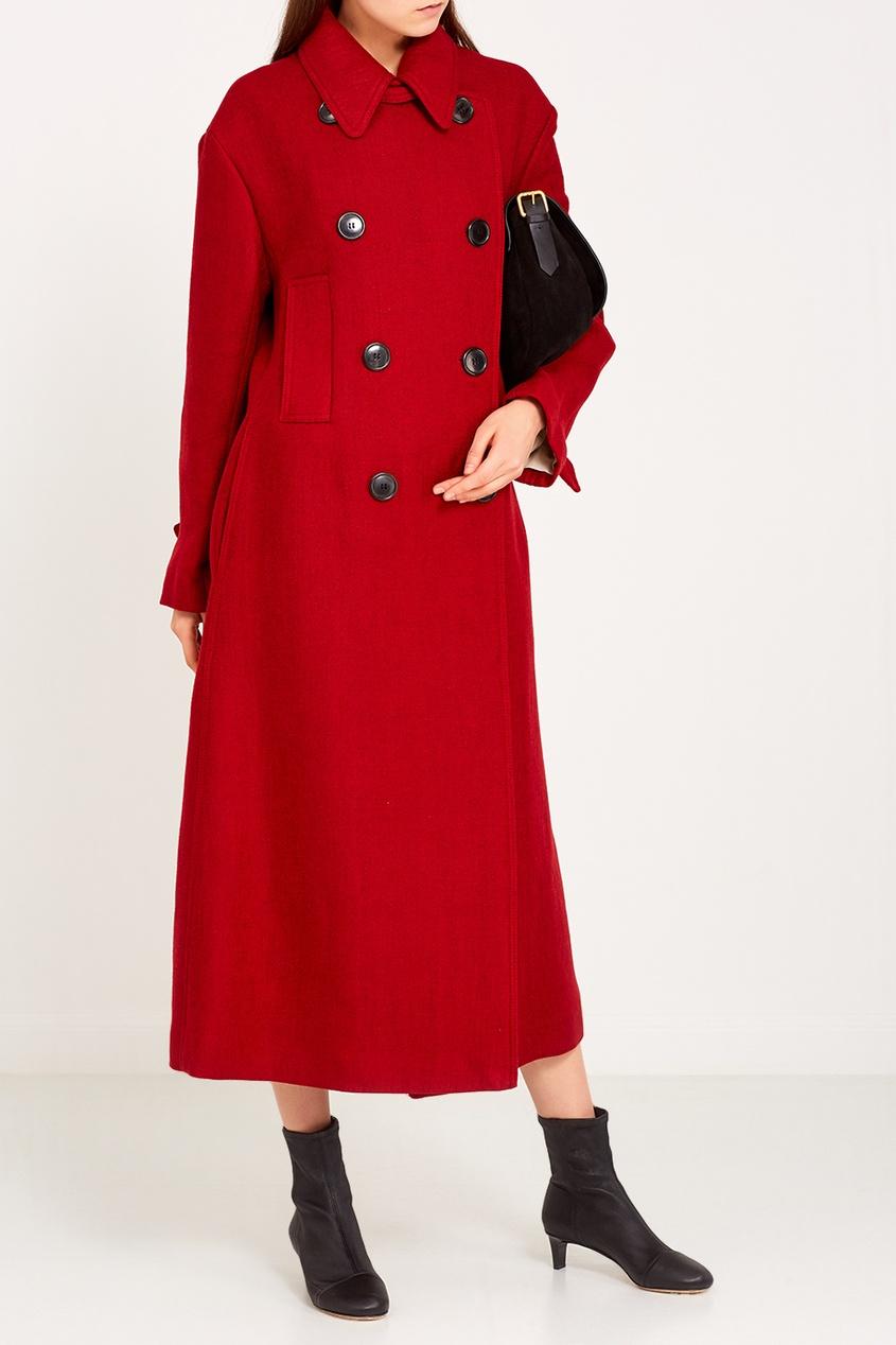 Isabel Marant Красное двубортное пальто пальто фасона трапеция 60% шерсти