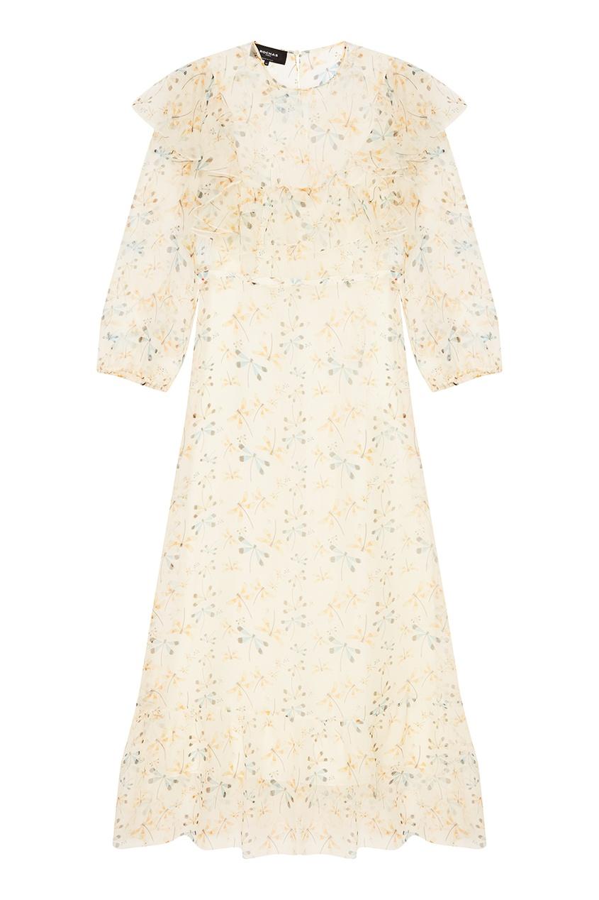 Rochas Платье из тонкого шелка с принтом rochas пальто из шерсти и шелка
