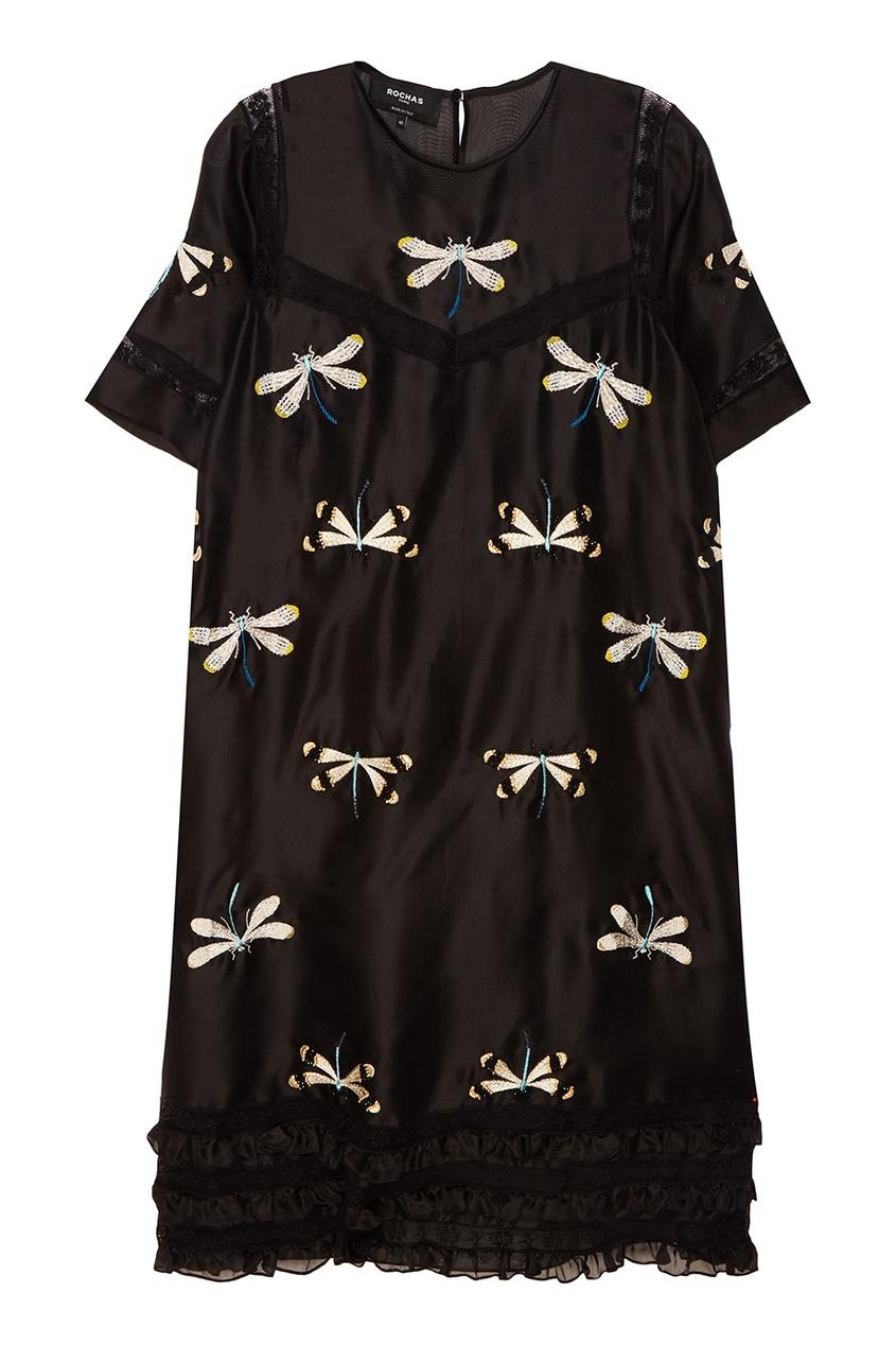 Rochas Шелковое платье со стрекозами rochas пальто из шерсти и шелка