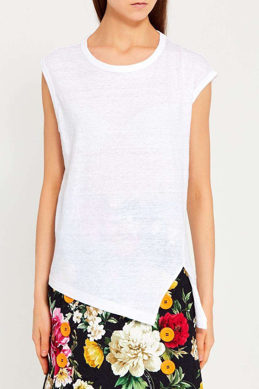 где купить Isabel Marant Etoile Белая льняная футболка по лучшей цене
