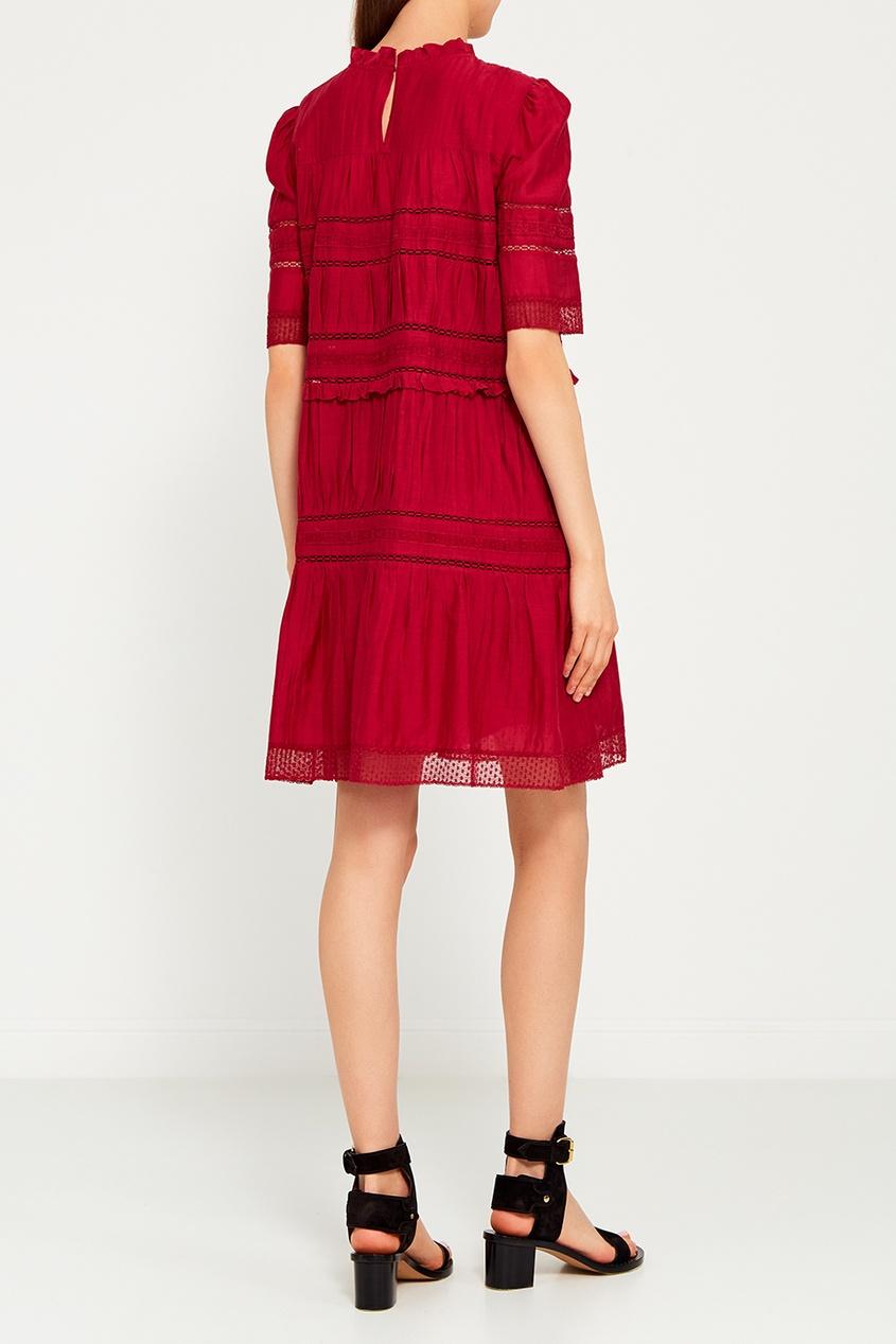 Красное хлопковое платье с драпировками