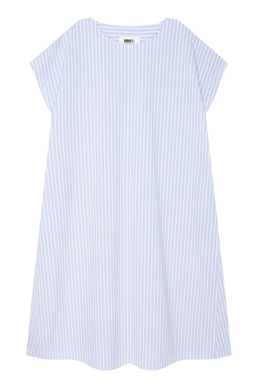 MM6 Maison Margiela Голубое хлопковое платье в полоску платье голубое в белый горошек
