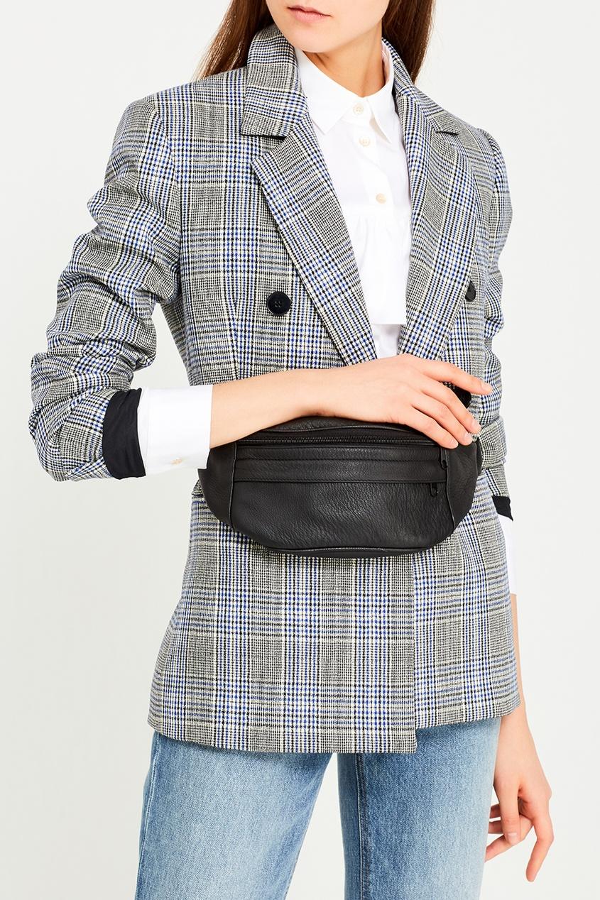 N.d.g Studio Черная поясная сумка из кожи ist пояс из кордуры с пластиковой пряжкой
